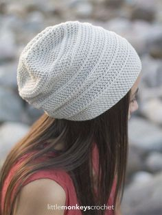 Shiplap Slouch Hat Crochet Pattern | Free slouchy hat crochet pattern by Little Monkeys Crochet