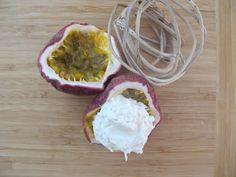 Raw coconut icecream with pessionfruit