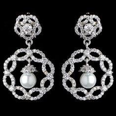 Bridal Rhodium Diamond White Pearl & CZ Drop Earrings