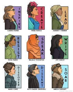 She Series Poster 4 (Historical Figures) - With this vibrant poster, artist Karen Hallion introduces women of history to her She Series poster - Marie Curie, Rosa Parks, Harriet Tubman, Carrie Fisher, Collage Poster, Feminist Art, Karen, Badass Women, Real Women