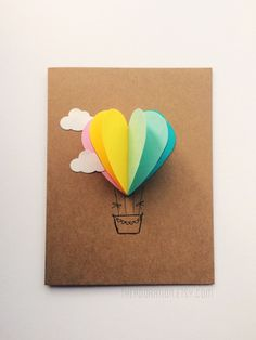 Multicolor Rainbow Heart Hot Air Balloon Card by theadorationThis Rainbow Heart Hot Air Balloon Card is just one of the custom, handmade pieces you'll find in our baby & expecting cards shops. Mothers Day Cards, Valentine Day Cards, Valentines, Balloon Gift, Hot Air Balloon, Cute Cards, Diy Cards, Karten Diy, Fathers Day Crafts