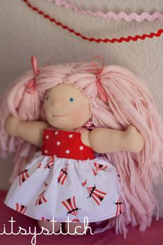 10 inch Waldorf Doll Itsy Mini READY TO SHIP Taffy Lou Circus. $118.00, via Etsy.