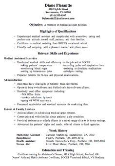 resume sample receptionist or medical assistant - Medical Receptionist Resume