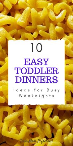 Easy dinner ideas for toddlers for busy weeknights. These easy meals are low prep simple food for kids and toddlers during busy nights. 10 easy meal ideas I fed my twin toddlers! Toddler Dinner Recipes, Healthy Toddler Meals, Toddler Lunches, Baby Food Recipes, Toddler Dinners, Toddler Food, Dinner Ideas For Toddlers, Kid Recipes, Healthy Lunches