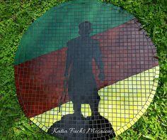 Homenagem ao Gaúcho - O Laçador. Mosaico em pastilha de vidro.  Mesa ou painel para parede