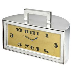Art Deco Demilune Clock or Trinket Box | From a unique collection of antique and modern clocks at https://www.1stdibs.com/furniture/decorative-objects/clocks/