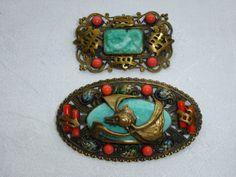 Lot 2 Vintage Art Deco Neiger Czech Brass Brooch Chinese Bat Dragon Faux Coral