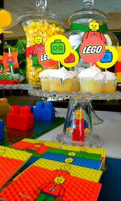 "Mason Jars of Legos would be cute =) Photo 1 of Lego theme / Birthday ""Diego Birthday Party"" Lego Movie Party, Lego Themed Party, Ninjago Party, Lego Birthday Party, Boy Birthday Parties, 8th Birthday, Lego Parties, Birthday Cake, Lego Ninjago"
