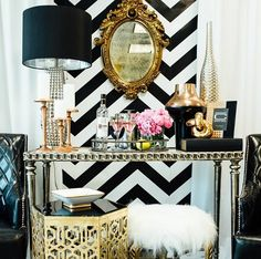 make up table vanity desk black gold modern fur mirror flowers