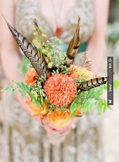 Bouquet with pheasant feathers