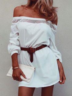 belted off shoulder dresses