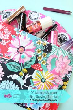 This 20 Minute Makeup Bag Sewing Tutorial with step by step photos is the perfect sewing project for teens, tweens, beginners or anyone learning to sew.