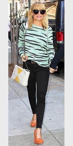 WALK ON THE WILD SIDE photo | Nicole Richie  mint pastel tigerstripe sweatshirt