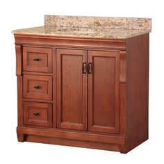Foremost Naples 37 in. W x 22 in. D Vanity in Warm Cinnamon with Left Drawers with Vanity Top and Stone Effects in Santa Cecilia