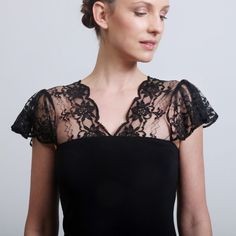 little black dress with lacy flutter cap sleeves    by elbling on etsy