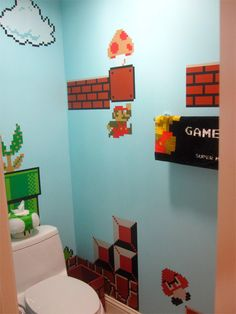 A Super Mario Bros. bathroom. Very cool!