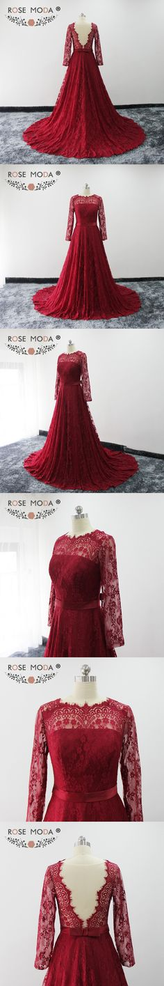 Rose Moda Burgundy Evening Dresses Long Sleeves Lace Formal Evening Gown  with Train Illusion Back Party 6a0fba83fcae
