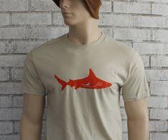 Mens Tshirt  Shark Graphic TShirt Tan Orange by CausticThreads, $20.00
