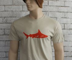 Mens Tshirt  Shark Graphic TShirt Tan Orange by CausticThreads, $20.00