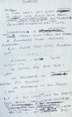 "Joy Division ""Isolation"" handwritten lyrics by Ian Curtis"