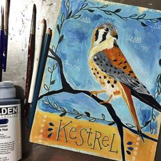 Finished! My daily animal. This one was a suggestion from @melly11394... and it was a good one! I like this painting a lot. Kestrel is the smallest member of the falcon family. Patience, concentration, and precision are all energetic qualities that Kestrel embodies. Kestrel can hover in mid-air (!!) and then attacks and strikes with gracefulness and accuracy. Hover and wait patiently for the right moment. Choose your moment carefully. Follow your gut feeling. Use your mind in a more…