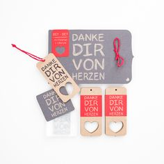 DIY-SET - make your own lovely hangtags!  Danke Dir von Herzen | Stempel - Tags, DIY-SET von boxWerbung.de auf DaWanda.com