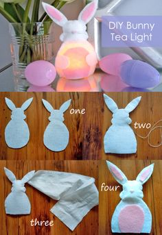 DIY Bunny Tea Light Easter craft! Looks cute in bedrooms, with Easter eggs, spring flowers and other Easter-themed goodies!
