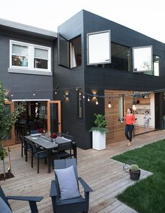 Modern Outdoor Spaces – Homey Oh My – Home Renovation Exterior Paint, Exterior Design, Modern Exterior, Outdoor Spaces, Outdoor Living, Black House Exterior, Casas Containers, House Colors, Future House
