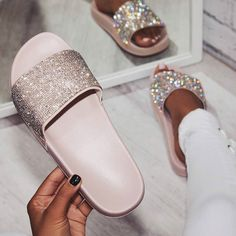 Women's Rhinestone Slippers Women's Summer Shoes And Sandals Women's Beach Slippers Slides Cute Sandals, Cute Shoes, Me Too Shoes, Shoes Sandals, Flats, Ego Shoes, Sandals 2018, Women Sandals, Flat Sandals