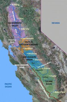 Map of the four Central Valley Subregions Central Valley California, California Map, Nevada, California Agriculture, Valley River, Yuba City, Travel Posters, Projects For Kids, Maps