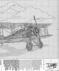 Vintage Airplane Cross Stitch Pattern 1291 Embroidery Patterns By