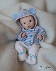 OOAK Handsculpted Baby Boy Art Doll Mini By Gina Holland