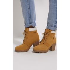 Marian Camel Faux Suede Shearling Lace Up Boots ($30) ❤ liked on Polyvore featuring shoes, boots, camel, chunky shoes, chunky boots, chunky lace up boots, lace front boots and block heel shoes