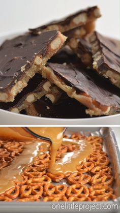 These chocolate caramel pretzel bars are SO GOOD and they're really easy to make! They only have 4 ingredients! The salty pretzels are coated with creamy caramel and covered in chocolate. This Christmas crack recipe … Mini Desserts, Holiday Desserts, Holiday Treats, Easy Fun Desserts, Easy Dessert Bars, Pretzel Desserts, Easy Chocolate Desserts, Easy Sweets, Unique Desserts