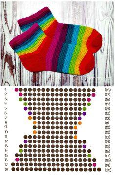 Free Crochet Rainbow Slipper Socks Pattern - 25 Free Crochet Rainbow Patterns for Beginners – 101 Crochet