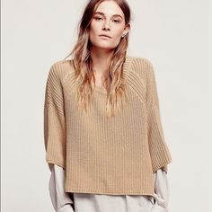 New Free People Ryanne Pullover sweater, size S Like new - worn 2x!!! Free People Ryanne chunky crew neck sweater in camel color. Oversized wide short sleeves and cropped at waist. I love this sweater! Need to get rid of everything though!!! Size small. Free People Sweaters