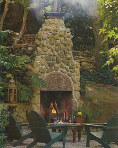 beautiful outdoor fireplace, so relaxing...