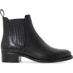 Dune Peppys leather chelsea boots ($100) ❤ liked on Polyvore featuring shoes, boots, ankle booties, leather boots, real leather boots, black ankle booties, genuine leather boots and chelsea ankle boots