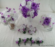 Lavender and White Bridal Bouquets Boutonnieres Silk Flower