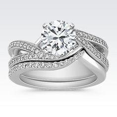 Swirl Diamond Wedding Set with Pavé Setting with Brilliant Round Diamond