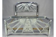 cHROME OVER BRASS FRENCH ART DECO BED CIRCA 1930. Both the headboard and…