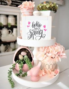 : Items similar to Mini Spring Signs Hello Spring Rae Dunn Inspired Small Signs Tier Tray Sign Tiered Tray 6 Easter Bloom White Frame Flower Happy Spring on Etsy tieredtraydecor Mini Spring Signs Hello Spring Rae Dunn Inspired Small Signs Tier Tray Sign Happy Spring, Hello Spring, Spring Summer, Spring Home Decor, Spring Decorations, St Patrick Decorations, Tray Styling, Tiered Stand, Holiday Signs