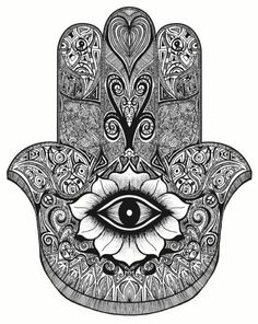 """Hamsa is the Arabic word for """"five"""" and represents the five digits of the hand. The Hamsa is universal sign of protection, and is often combined with the Evil Eye to ward anyone who wants to harm you. According to the history of this symbol, Hamsa Hand Tattoo, Hand Tattoos, Tatoos, Hamsa Art, Hand Henna, Symbol Tattoos, Mandala Tattoo, Tattoo Main, Overlays"""