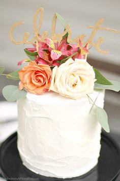 A black & white celebration party cake