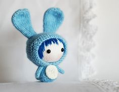 Ravelry: Blue Rabbit Doll with removable tail. Toy from the Tanoshi series. pattern by Tatyana Korobkova