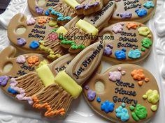 Paint brush & pallet cookies