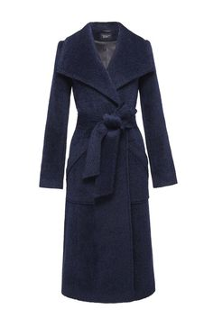 SENTALER Luxury Outerwear Long Wide Collar Wrap Coat