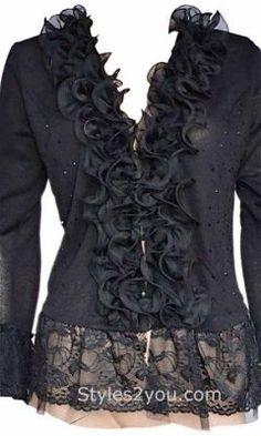 MORE IN STOCK NOW...Women's Ruffle Sweater Bolero Top In Black