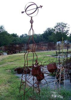 Huge Obelisk Sundial - Stately Yard Ornament Trellis or Topiary- Plant Support