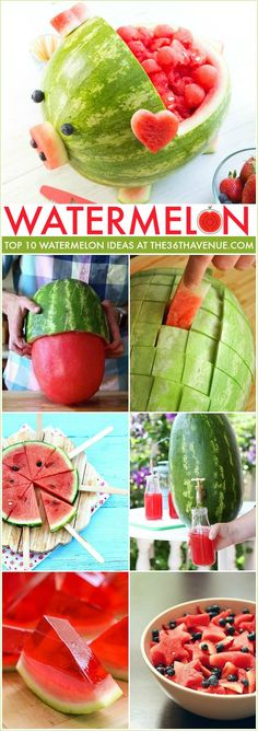 Watermelon Hacks and recipes that you can make. So many clever ideas. Pin it NOW and make them later. Watermelon hacks and easy recipes that you can make. So many clever ideas that are perfect for Summer time, barbecues, and parties! Watermelon Hacks, Cut Watermelon, Watermelon Carving, Watermelon Birthday, Drunken Watermelon, Fruit Recipes, Summer Recipes, Cooking Recipes, Easy Recipes